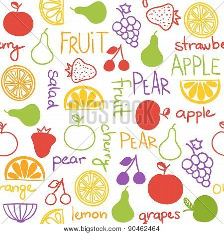 Hand Drawn Fruit Seamless Pattern