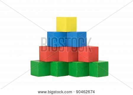 Pyramid From Wooden Colorful Cubes Isolated On A White Background