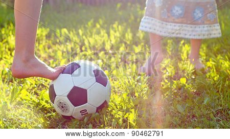 girls playing football at the meadow