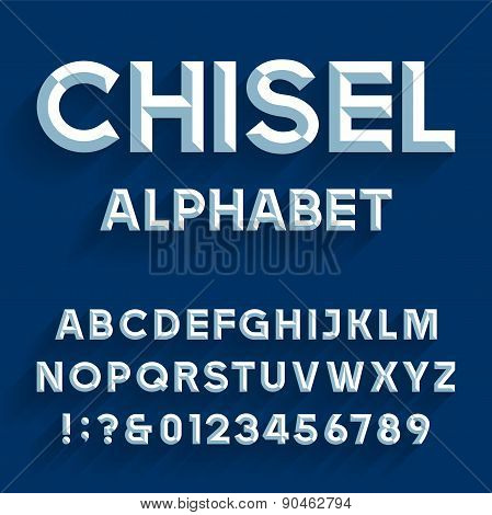 Chiseled Alphabet Vector Font.