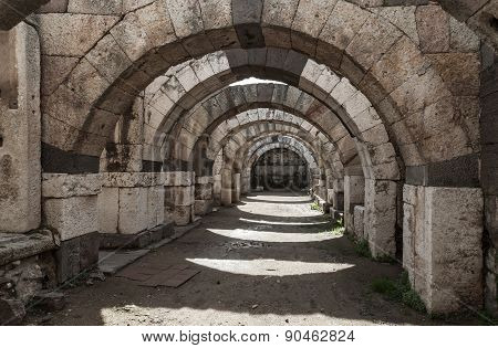 Empty Corridor With Arcs And Columns, Izmir