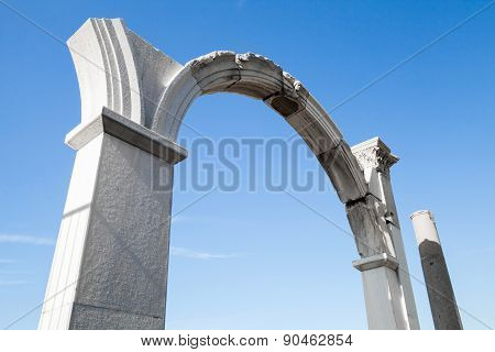 Columns And Arches, Portico Fragment On Blue Sky