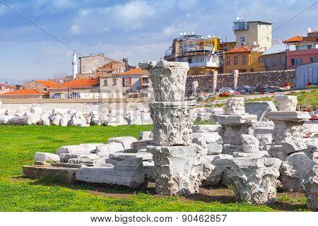 Ruined Ancient Column Details In Smyrna. Izmir