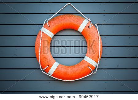 Red Lifebuoy Hanging On Blue Wooden Wall