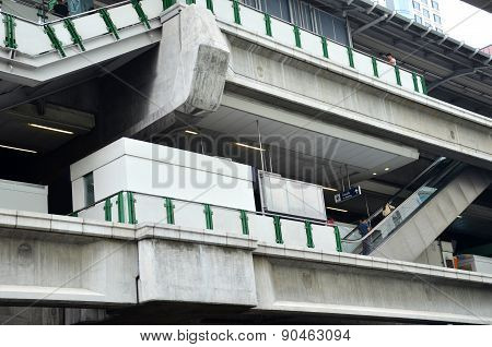 Bts Skytrain On Elevated Rails In Asoke District