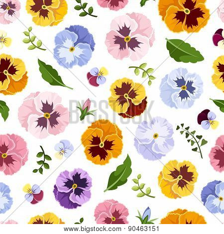 Seamless pattern with colorful pansy flowers. Vector illustration.