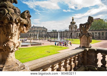 DRESDEN, GERMANY - MAY 8:  Tourists view the Dresdner Zwinger