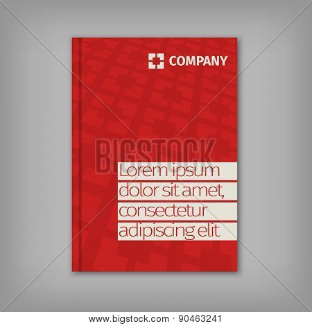 Red business design with headline and pattern background.