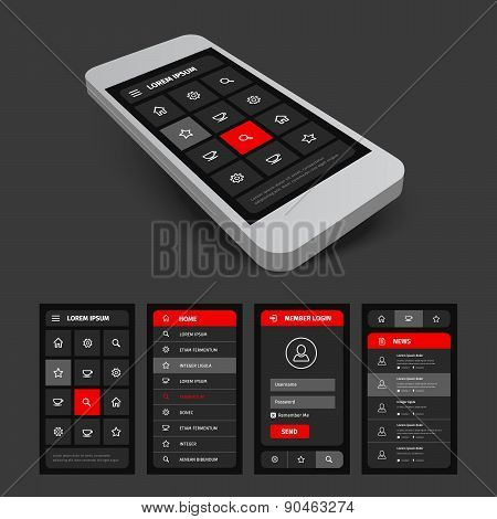 set of black and red mobile ui