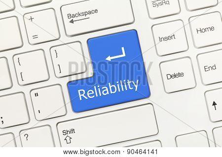 White Conceptual Keyboard - Reliability (blue Key)