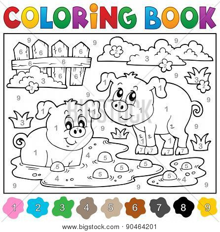 Coloring book with two happy pigs - eps10 vector illustration.