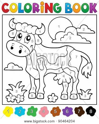 Coloring book cow theme 2 - eps10 vector illustration.