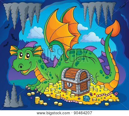 Dragon with treasure theme image 3 - eps10 vector illustration.