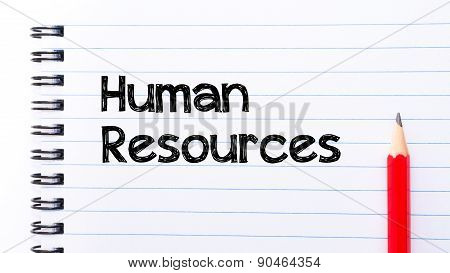 Human Resources Text Written On Notebook Page