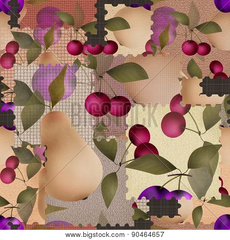 Patchwork berry pattern with fruits background