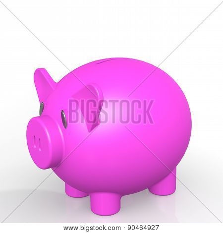 Pink Isolated Piggy Bank
