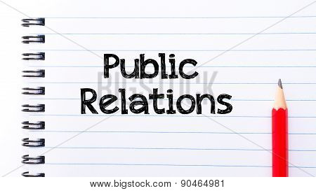 Public Relations Text Written On Notebook Page
