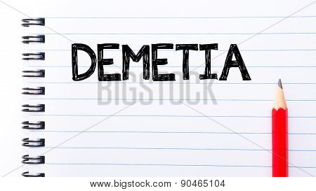 Dementia Text Written On Notebook Page
