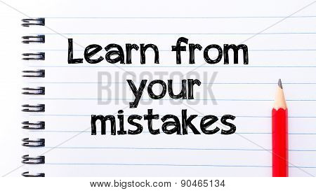 Learn From Your Mistakes Text Written On Notebook Page