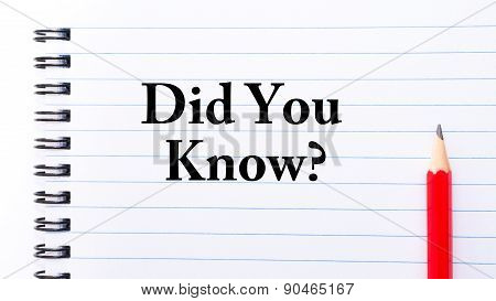 Did You Know Text Written On Notebook Page
