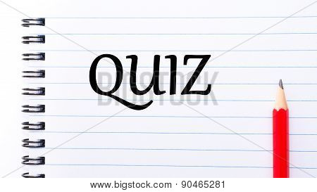 Quiz Text Written On Notebook Page