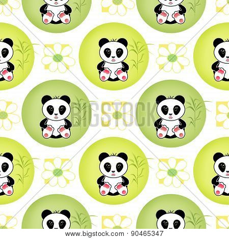 Seamless asia panda bear kids illustration background pattern