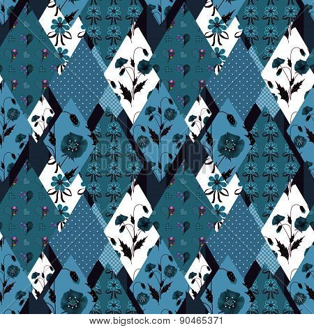 Patchwork floral seamless pattern background