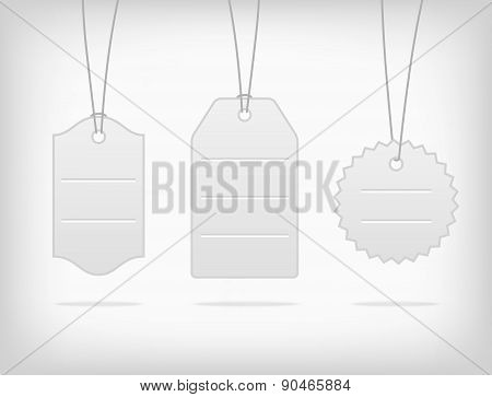 Vector hanging blank steel pricing tags