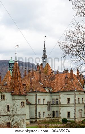 Sharp roofs of Shenborn Castle, Ukraine.