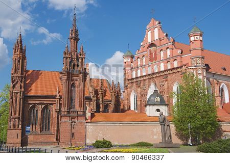 Exterior of the Saint Anne's church in Vilnius, Lithuania.
