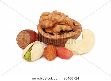 Stack From Different Kinds Of Nuts (isolated)