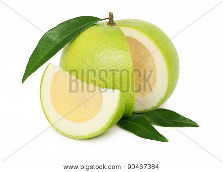Ripe Sliced Sweetie With Green Leaves (isolated)