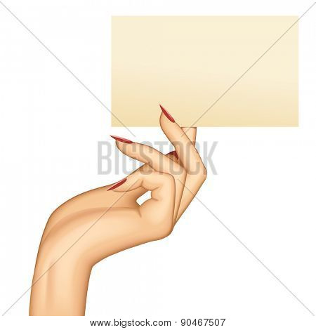 Hand holding paper business card