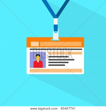 Id Card Profile Data Photo Flat Vector