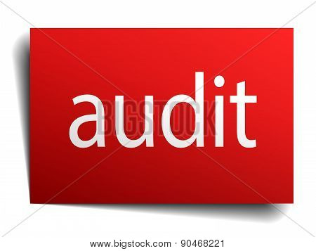 Audit Red Paper Sign Isolated On White