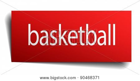Basketball Red Paper Sign Isolated On White