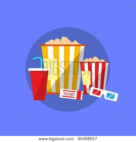 Popcorn Movie Set Flat Design Ticket Glasses Cinema
