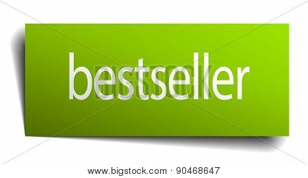 Bestseller Green Paper Sign On White Background