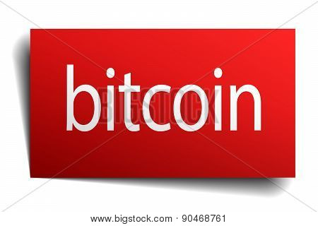Bitcoin Red Paper Sign Isolated On White