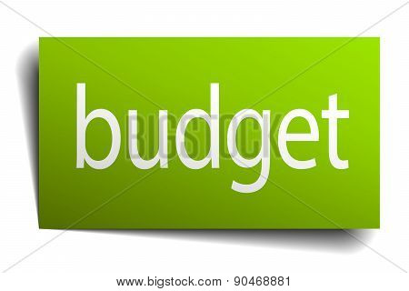 Budget Green Paper Sign On White Background