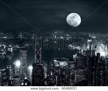 Hong Kong Skyline At Full Moon Night