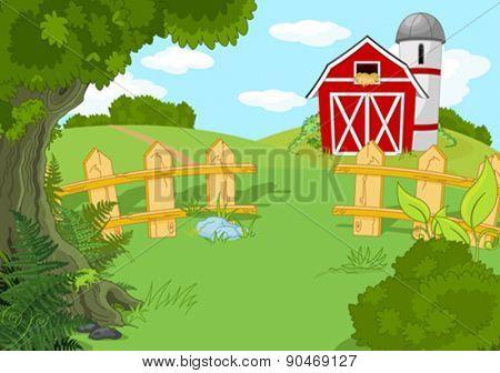 Illustration of idyllic rural landscape