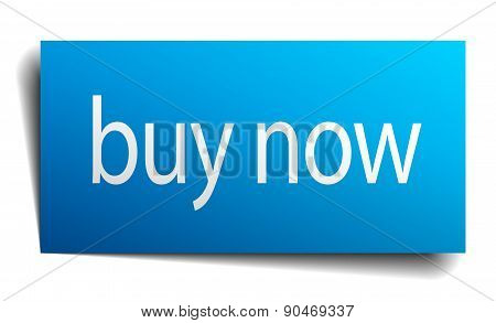 Buy Now Blue Square Isolated Paper Sign On White