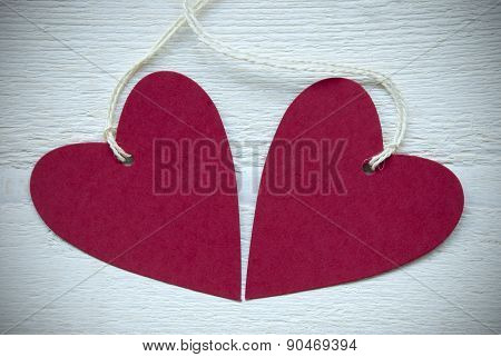 Two Red Hearts With Copy Space Frame