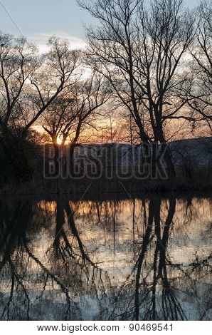 Sunset over the river -portrait