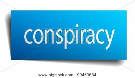 Conspiracy Blue Square Isolated Paper Sign On White