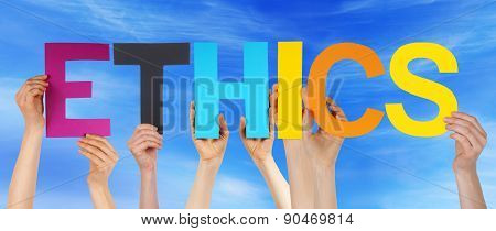 Hands Hold Colorful Straight Word Ethics Blue Sky
