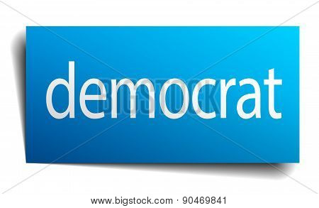Democrat Blue Square Isolated Paper Sign On White