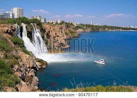 Wonderful rainbow on Duden river Waterfall  in Antalya, Turkey
