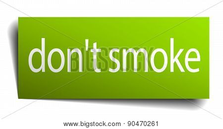 Don't Smoke Green Paper Sign Isolated On White